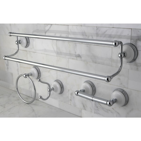 Shop Victorian 4 Piece Polished Chrome Bathroom Accessory Set Free Shipping Today Overstock
