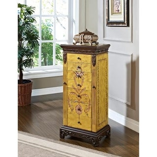 Powell Elizabethan Antique Parchment Hand Painted Jewelry Armoire - overpacked