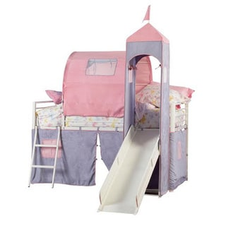 Powell Princess Beatrix Castle Twin Size Tent Bunk Bed with Slide