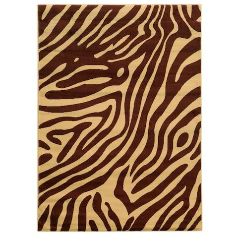 "Linon Elegance Zebra Print Brown/ Tan Area Rug (5' x 7'3) - 5' x 7'3"""