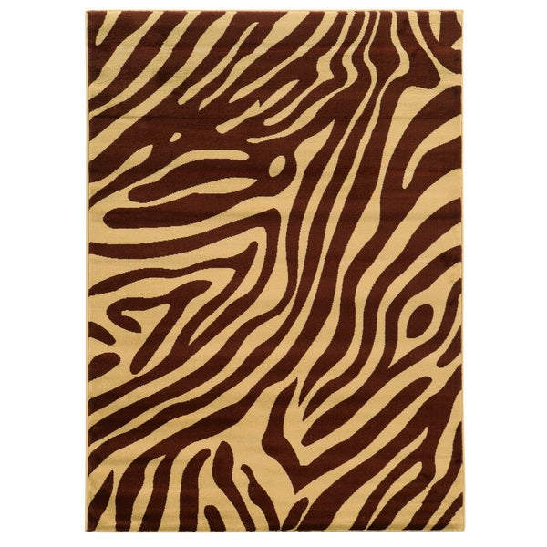 Shop Linon Elegance Zebra Print Brown Tan Area Rug 5 X