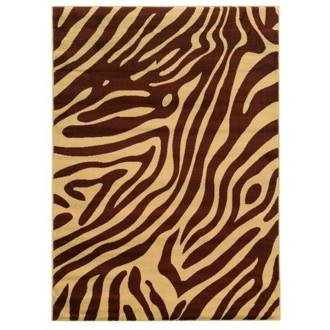 Linon Elegance Zebra Print Brown/ Tan Area Rug (5' x 7'3) - 5' x 7'3