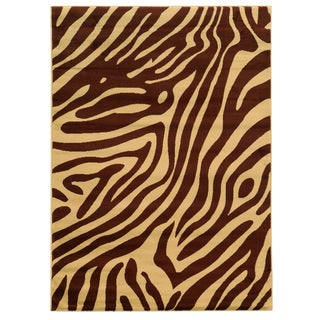 Linon Elegance Zebra Print Brown/ Tan Area Rug (5' x 7'3)