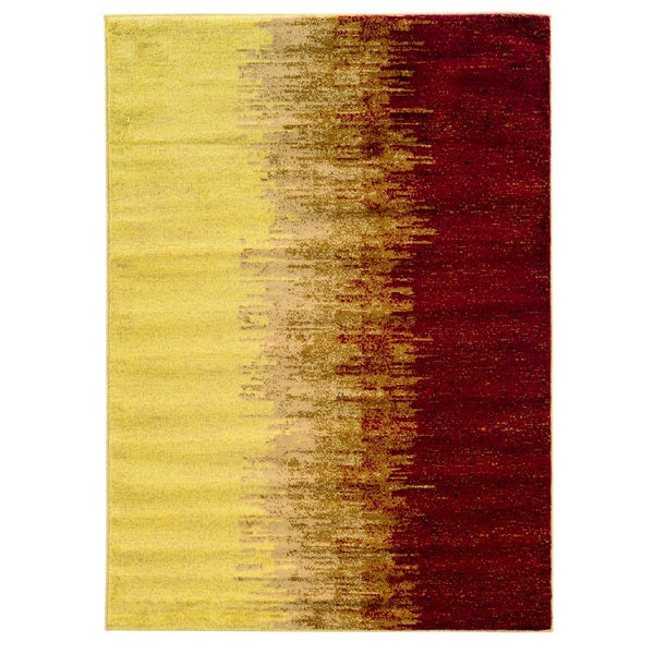 Linon Elegance Cream/ Red Area Rug (5' x 7'3)