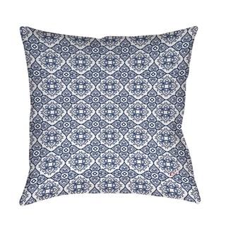 Winter Garden Baroque White on Navy Floor Pillow