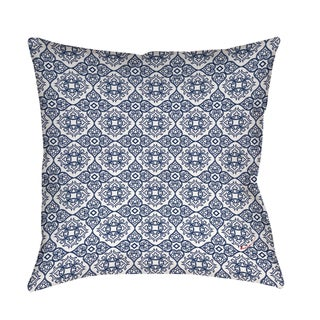 Winter Garden Baroque White on Navy Floor Pillow