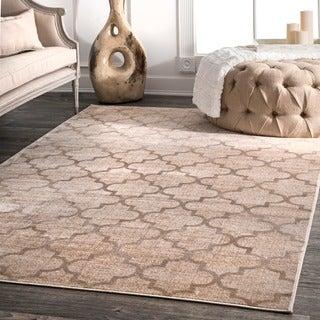 nuLOOM Modern Viscose Trellis Fancy Ivory Rug (7'8 x 9'6)
