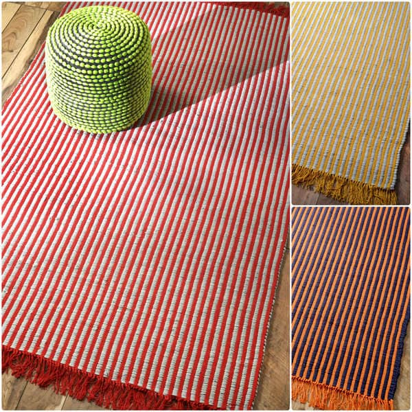 nuLOOM Handmade Cotton Striped Reversible Flatwoven Fancy Rug (5' x 8') - 5' x 8'