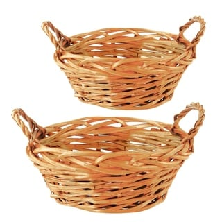 Wald Imports 11-inch Carved Willow Basket (Set of 2)