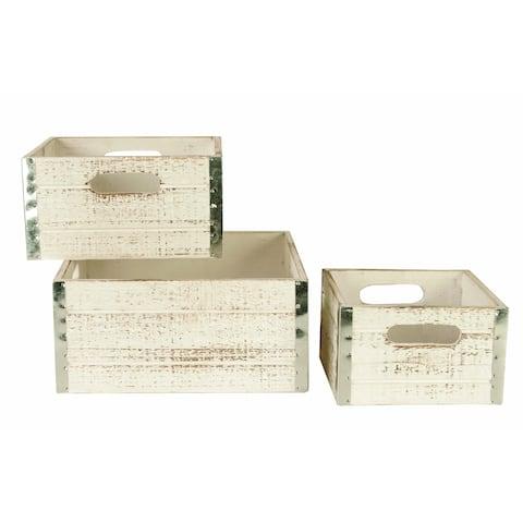 Wald Imports Whitewash Wood Storage Crates (Set of 3)