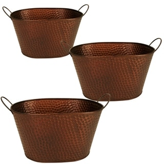 Wald Imports 10.5-inch Oval Hammered Metal Container (Set of 3)