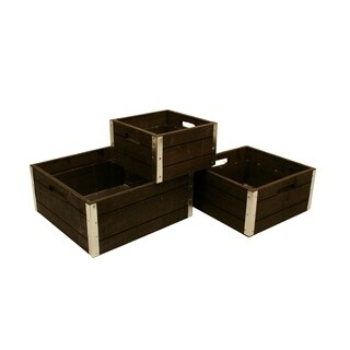 Wald Imports Reinforced Classic Grey-wash Wood Storage Crates (Set of 3)