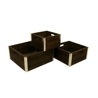 Wald Imports Reinforced Grey-wash Wood Storage Crates (Set of 3)