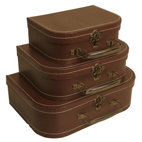 Wald Imports Brown Suitcases (Set of 3) - Butterscotch