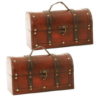 Wald Imports 11-inch Dark Wood Trunk (Set of 2)