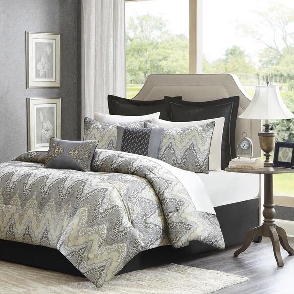 Madison Park Regis 12-Piece Bed in a Bag Jacquard Comforter Set