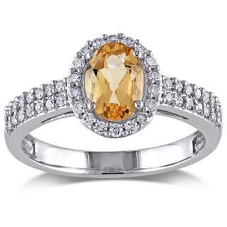 Miadora 10k White Gold Yellow Beryl and 1/3ct TDW Diamond Ring (G-H, I1-I2)|https://ak1.ostkcdn.com/images/products/9320384/P16480395.jpg?impolicy=medium