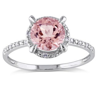 Miadora 10k White Gold Morganite and Diamond Accent Halo Ring