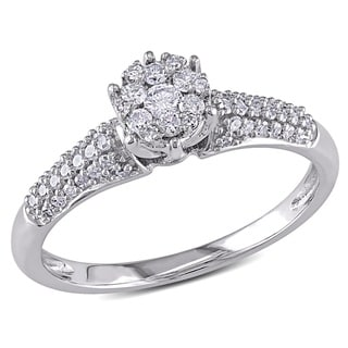 Miadora 10k White Gold 1/3ct TDW Diamond Ring