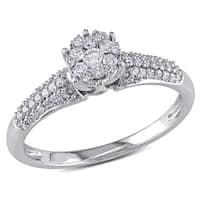 Miadora 10k White Gold 1/3ct TDW Diamond Ring