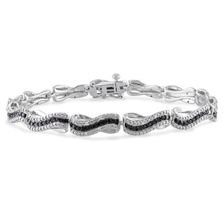 Miadora Sterling Silver 1/2ct TDW Black and White Diamond Bracelet