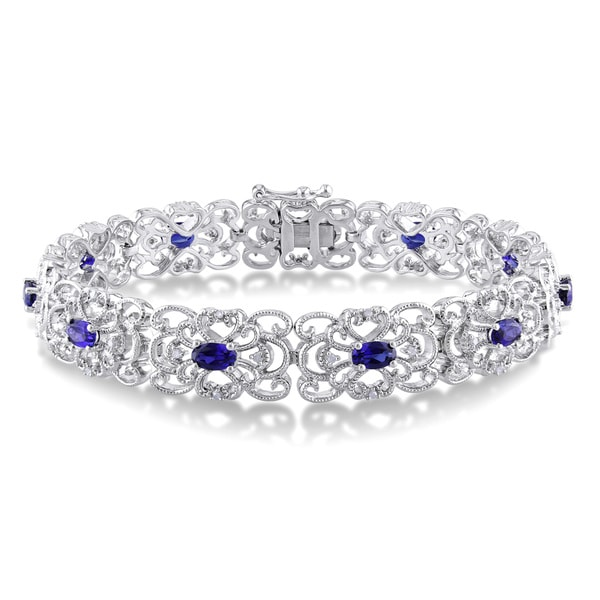 Miadora Sterling Silver Created Blue Sapphire and 1/5ct TDW Diamond Bracelet (I-J, I2-I3)