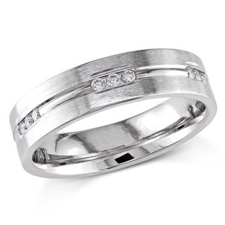 Miadora Signature Collection 14k White Gold 3/8ct TDW Diamond Men's Wedding Band