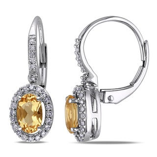 Miadora 10k White Gold Yellow Beryl and 1/5ct TDW Diamond Earrings (G-H, I1-I2)