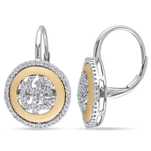 Miadora 14k Two-tone Gold 1/2ct TDW Diamond Halo Earrings