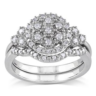 Miadora Sterling Silver 1/3ct TDW White Diamond Bridal Ring Set
