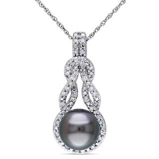 Miadora 10k White Gold Tahitian Black Pearl and 1/5ct TDW Diamond Necklace (H-I, I2-I3) (8-8.5 mm)