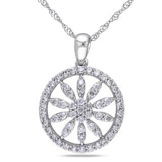 Miadora 10k White Gold 1/2ct TDW Diamond Flower Necklace