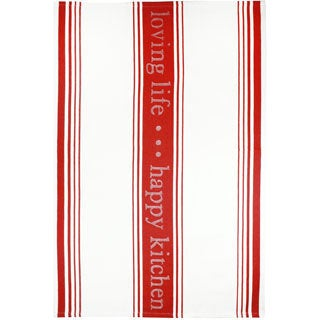 MUkitchen 'Loving Life' Pepper Red Cotton Jacquard Kitchen Towel
