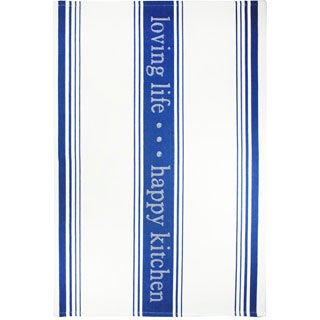 MUkitchen Indigo 'Loving Life' Cotton Jacquard Kitchen Towel