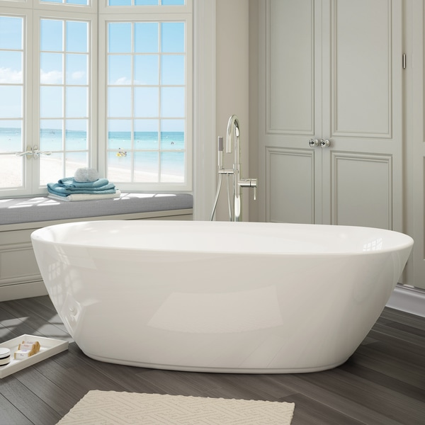 Sequana white acrylic free standing bathtub with handheld for Free standing tubs for sale