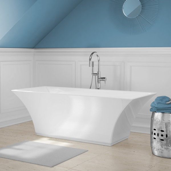 abzu white acrylic free standing bathtub with handheld