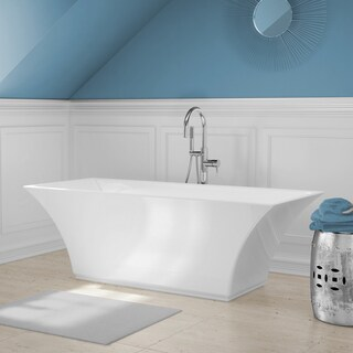 Abzu White Acrylic Free-standing Bathtub with Handheld Shower