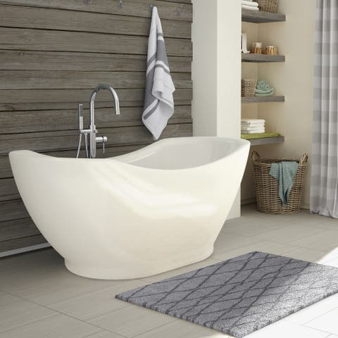 Salacia White Acrylic Free-standing Bathtub with Handheld Shower