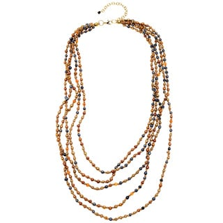 Multi-colored Glass/ Resin Beaded Multi-strand Necklace (India)