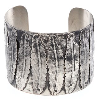 Antiqued Nickel 12 Leaves Embossed Cuff Bracelet (India)
