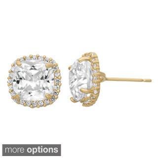 Gioelli 10k Gold Cushion-cut Created White Sapphire Stud Earrings