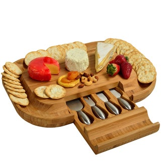 Picnic at Ascot Deluxe Malvern Brown Bamboo Cheese Board with Stainless Steel Tools