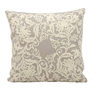 kathy ireland Wide Lace Border Silver/Grey Throw Pillow (18-inch x 18-inch) by Nourison
