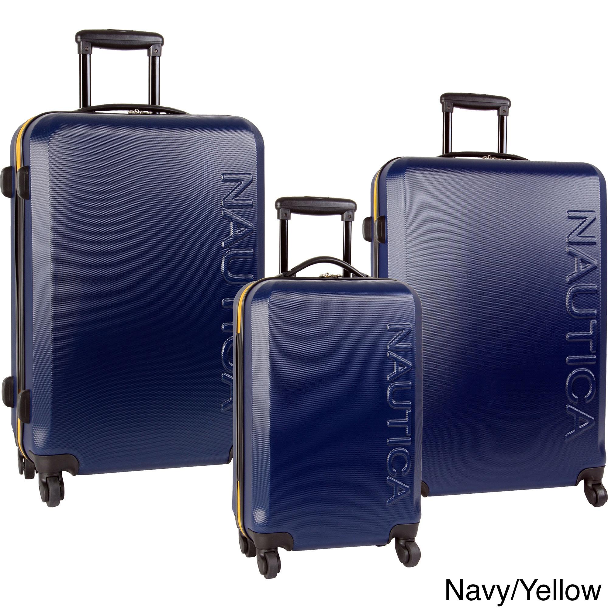 Nautica Ahoy 3-piece Hardside Spinner Luggage Set (Gray/O...