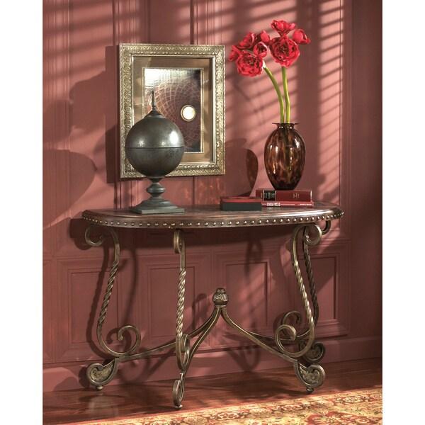 Signature Designs By Ashley Rafferty Dark Brown Sofa Table