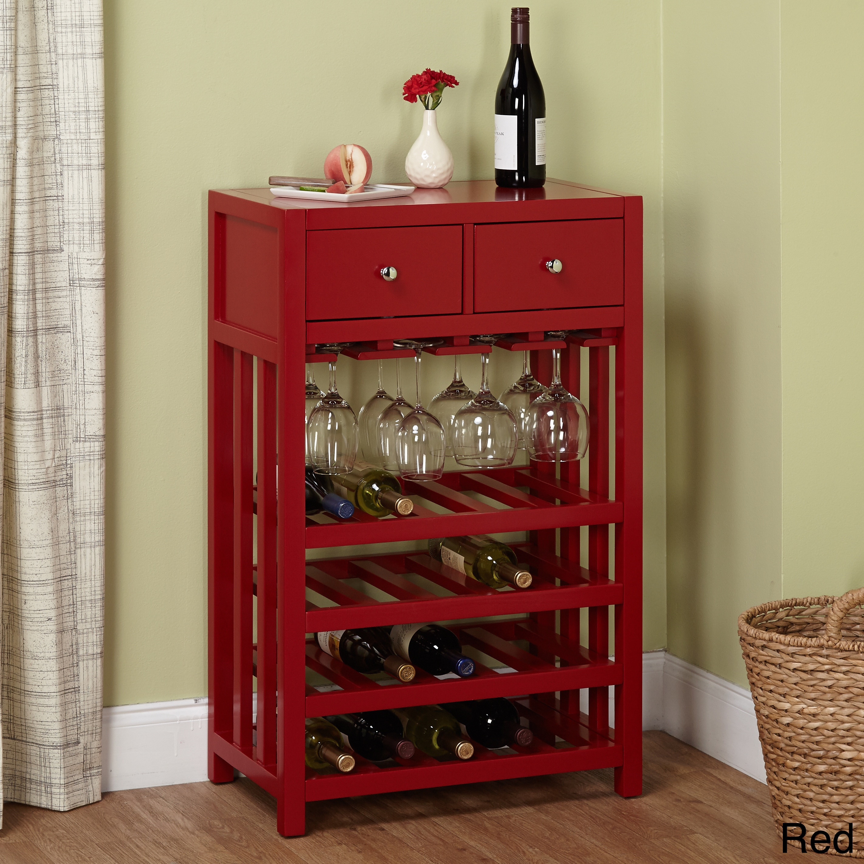 Simple Living Napa Wood 20-bottle Wine Tower (Red)
