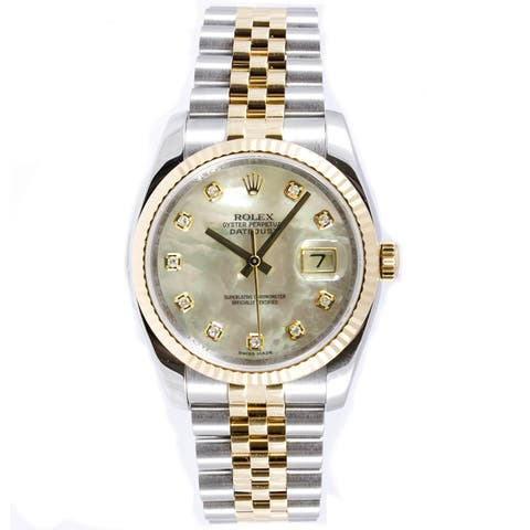 170f22f4d502 Pre-Owned Rolex Men s Datejust Steel and 18k Yellow Gold Diamond Dial Watch  - Silver