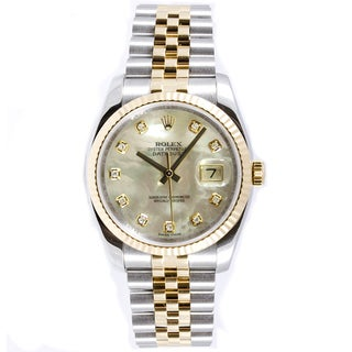 Pre-Owned Rolex Men's Datejust Steel and 18k Yellow Gold Diamond Dial Watch - Silver