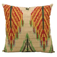 kathy ireland Leaves Ikat Multicolor Throw Pillow (18-inch x 18-inch) by Nourison