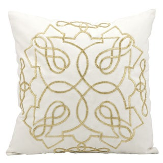 kathy ireland Beads Infinity White/Gold Throw Pillow (18-inch x 18-inch) by Nourison